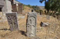 Ruiny budynki i khachkars 5-7 wieków w antycznym monasterze Tsahats-kar w Armenia Zdjęcie Royalty Free