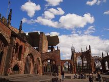 Ruiny Coventry katedra, Anglia Obrazy Royalty Free