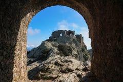 Ruiny grodowy De Verdera Hiszpania Catalonia Obraz Stock