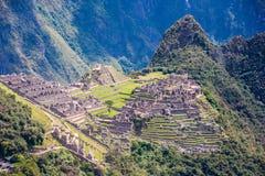 Ruiny i tarasy Macchu Picchu krajobraz Obrazy Royalty Free