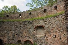 Ruiny kasztel na wzgórzu Chojnik blisko Jelenia GÃ ³ akademii królewskich fotografia stock