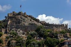 Ruiny krzyżowa forteca i antyczne ruiny Simena w Turcja Fotografia Stock