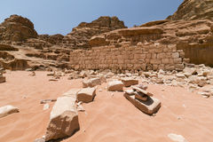 Ruiny Lawrance Arabia dom, lokalizować w wadiego rumu pustyni, J Zdjęcia Stock