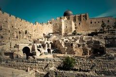 Ruiny Ophel ściany, Jerozolima fotografia royalty free
