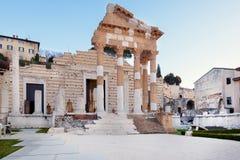 Ruiny Romański forum w Brescia w centrum antyczny Romański miasteczko Brixia zdjęcie royalty free