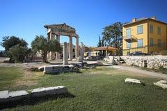 Ruiny Romańska agora, Ateny Zdjęcia Stock