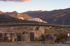Ruiny rzymska bazylika Volubilis blisko Meknes i fezu, Maroko obraz stock