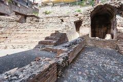 Ruiny rzymski amfiteatr Odeon w Taormina zdjęcia royalty free