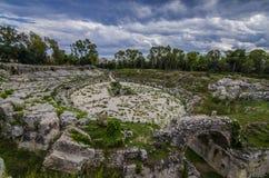 Ruiny rzymski cyrk Syracuse obrazy stock