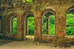 Ruiny stara rezydencja ziemska Ruiny pałac w drewnach Zdjęcie Stock