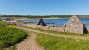 Ruiny starej soli domu portu Eynon zatoka Gower Walia uk Fotografia Royalty Free