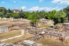 Ruiny starożytny grek agora, Ateny Zdjęcia Royalty Free
