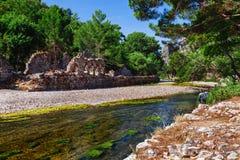 Ruiny staro?ytny grek i rzymski antyczny miasto Olympos blisko Antalya Turcja obrazy stock