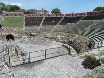 Ruiny starożytny grek i rzymski theatre w Taormina Obraz Stock