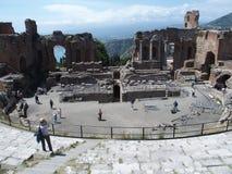 Ruiny starożytny grek i rzymski theatre w Taormina Obrazy Royalty Free