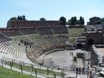 Ruiny starożytny grek i rzymski theatre w Taormina Obrazy Stock