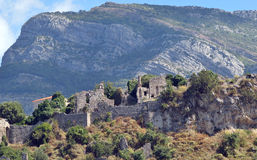 Ruiny stary średniowieczny Prętowy miasto Obrazy Royalty Free