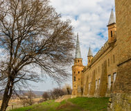 Ruiny stary forteca w Ukraina - góruje i ściana Fotografia Stock