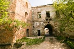 Ruiny stary Klevan kasztel Rujnująca ściana z okno przeciw niebieskiemu niebu Podwórze Rivne region Ukraina Zdjęcie Royalty Free