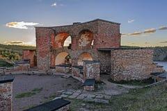 Ruiny Stary Rosyjski Forteczny Notvikstornet blisko Bomarsund, Alan Zdjęcie Royalty Free