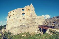 Ruiny Topolcany kasztel, Słowacka republika, środkowy Europa, retr Fotografia Royalty Free