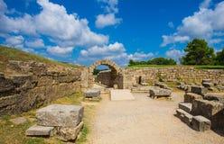 Ruiny w Antyczny olimpia, Elis, Grecja Zdjęcie Stock
