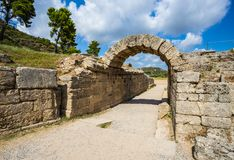 Ruiny w Antyczny olimpia, Elis, Grecja Obrazy Royalty Free