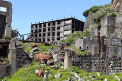 Ruiny w Hashima wyspie Zdjęcia Stock