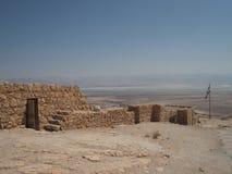 Ruiny w Masada i nieżywym morzu Obrazy Royalty Free