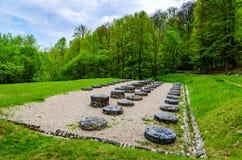 Ruiny wapień świątynia przy Sarmizegetusa Regia, Transylvan zdjęcie stock