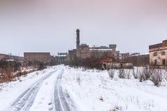 Ruiny zaniechana fabryka w zimie Obraz Royalty Free