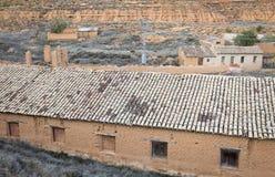 Ruiny zaniechani nieociosani domy Obrazy Royalty Free