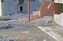 Ruiny zniszczony budynek obraz stock