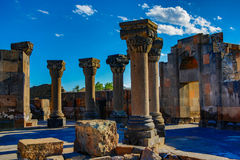 Ruiny Zvartnos świątynia w Yerevan zdjęcie stock