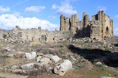 Ruins of agora. Ruis of temple in agora in Aspendos, Turkey Stock Photo