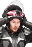 Ruiter die helm uit trekt Royalty-vrije Stock Foto's