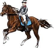 Ruiter op paard het springen royalty-vrije illustratie