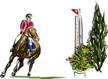 Ruiter op paard het springen stock illustratie