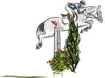 Ruiter op paard het springen Stock Fotografie