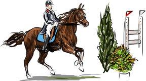 Ruiter op paard het springen Royalty-vrije Stock Fotografie