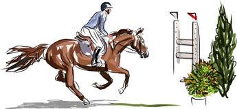 Ruiter op paard het springen Stock Afbeelding
