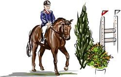 Ruiter op paard het springen Royalty-vrije Stock Afbeelding