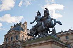 Ruiter standbeeld van koning Louis XIV Stock Afbeelding