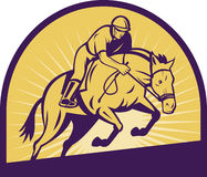 Ruiter toon het springen paard Stock Afbeelding