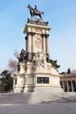 Ruitermonument aan Alfonso XII in Retiro-Park Royalty-vrije Stock Foto's
