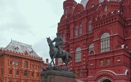 Ruitermonument om Zhukov in Moskou te rangschikken royalty-vrije stock foto's