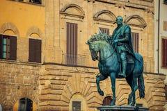 Ruitermonument van Cosimo I Florence, Italië Stock Foto's