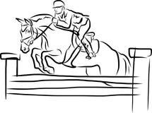 Ruitersport - de Ruiter op paard in het springen toont Royalty-vrije Stock Afbeelding