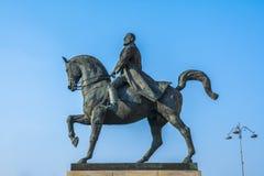 Ruiterstandbeeld die koning Carol in Boekarest Roemenië vertegenwoordigen Stock Foto
