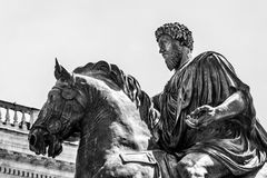 Ruiterstandbeeld van Marco Aurelio in Rome Stock Afbeelding